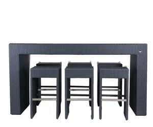 Set di tavolo e 6 sgabelli in alluminio e rattan grigio - 79x106x204 cm