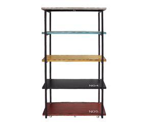 libreria a 4 ripiani in pino e metallo fabric - 100x166x40 cm