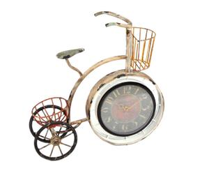 Reloj de sobremesa en metal Bicicleta Macetero - blanco