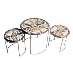 Tavolino e sgabelli in rattan e metallo Parks naturale e metallico - max 50x48 cm