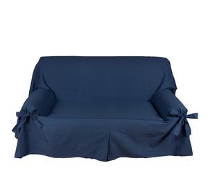 Telo copridivano 2 posti in cotone Lazos Cotton blu - 130-180 cm