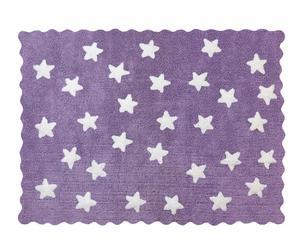 Tappeto in cotone lilla Stelle - 160x120 cm