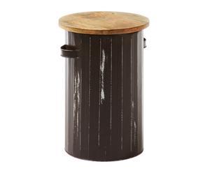Sgabello/contenitore in mango e metallo Lilia - 45x49 cm