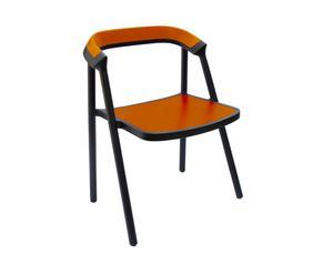 Sedia in legno massiccio arancione Carbon Coen - 61x55x76 cm