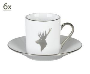 Set di 6 tazze da caffe' in porcellana con 6 piattini - Cerf<br />