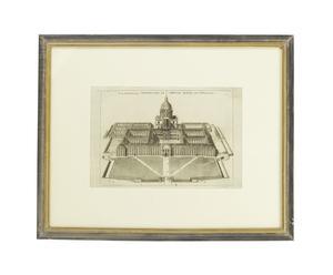 Litografia con cornice in legno Invalides - 63x51 cm