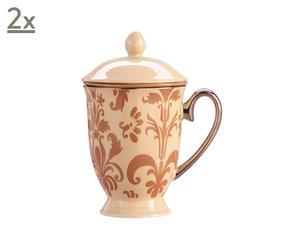 Set di 2 tazze da te' in ceramica con coperchio Damas - 7x16 cm