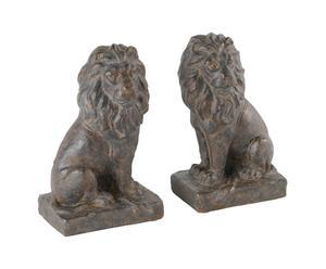 Set di 2 leoni fermalibri in resina Lion - 26x22 cm
