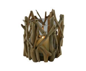 Set di 2 portacandele in legno e vetro Forest - H 19 cm