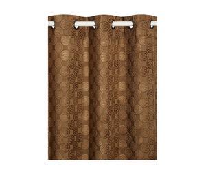 Tenda con asole per il bastone Marrone - 140x280 cm