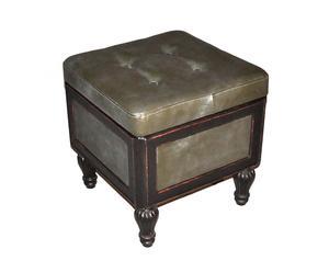 Pouf in legno ed ecopelle con scomparto portaoggetti Napoleon