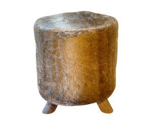 POUF in legno con rivestimento in pelliccia sintetica Fox - 40x48 cm