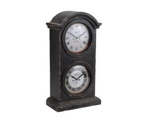 Orologio da tavolo a 2 quadranti in legno e vetro BASIL - 14x27x52 cm
