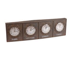 Orologio da tavolo a 4 quadranti in ferro e vetro BASIL - 96x9,8x28 cm