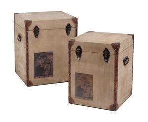 Set di 2 bauli decorativi in metallo e tessuto TROTTER - 40x50x40 cm