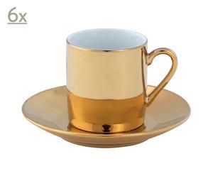 Set di 6 tazzine in ceramica con piattino Lione - Oro