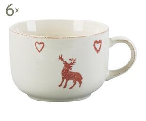 set di 6 tazze da the in gres bianco e rosso rennes - h 12 cm