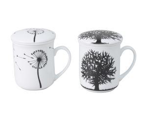 Set di 2 tazze con filtro per infusi in porcellana con coperchio - 250 ml