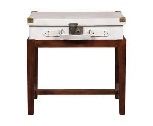 tavolino con bauletto in legno e pelle tilbury - 60x42x40 cm