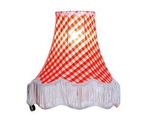 paralume per lampada da tavolo in poliestere e cotone vichy rosso - d 12/h 27 cm