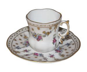 set caffe' in porcellana con piattino Napoleon III (4 tazzine + piattini)