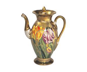 Caffettiera antica in porcellana francese aux tulipes - 19x12x25 cm