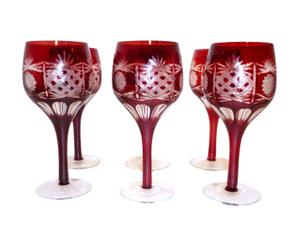 set di 6 calici da vino in vetro rosso GLAM - d 7/h 16 cm