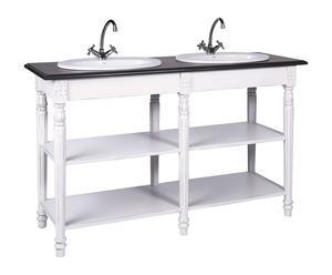 Mobiletto bagno in legno a 2 ripiani e lavabo doppio in ceramica - 150x90x52 cm
