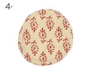 set di 4 sottobicchieri in cotone beige e rosso liz - d 11 cm