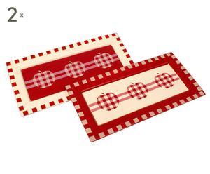 set di piatti rettangolari in ceramica pauline - 40x19 cm
