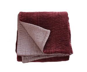 Copriletto singolo in velluto e cotone Elegance bordeaux - 160x160 cm