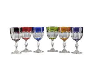 set di 6 calici da vino in vetro cristallino multicolore Nicole - 28 cl