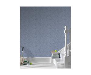 set di 3 rotoli di carta da parati Willow grigio e blu - 52x1000 cm