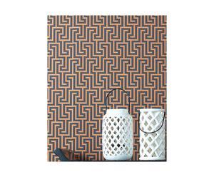 set di 3 rotoli di carta da parati Juan grigio e arancione - 52x1000 cm