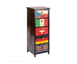 Cassettiera settimanale a 5 cassetti in metallo FLAGS - 33x94x33 cm