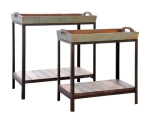 set di 2 consolle in legno e ferro blu butler - 35x69x64 cm