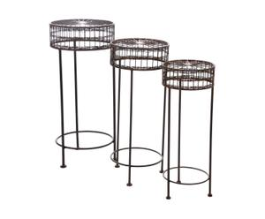 set di 3 tavolini in ferro battuto marrone rind - max 33x72 cm