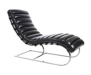 Chaise longue Cuir, Noir - L135