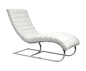 Chaise longue Cuir, Blanc - L135