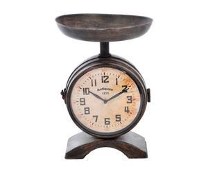 orologio da tavolo con vassoio in ferro nero mar - 36x25 cm