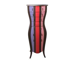 cassettiera a 4 cassetti in ciliegio nero e multicolor - 40x143x40 cm