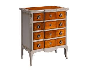 cassettiera a 4 cassetti in tiglio e ciliegio bianco e naturale - 70x85x42 cm