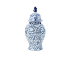 giara in porcellana bianca e azzurra dalian - 28x62x28 cm