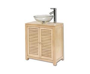Mobile bagno in legno e lavabo in vetro PASSION - 70x45x77 cm