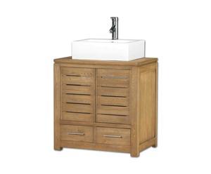 Mobile bagno in legno e lavabo in ceramica SALUT - 76x50x79 cm