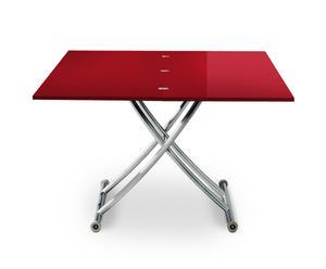 tavolo regolabile in legno e alluminio CARRERRA rosso - max 115x100x77 cm