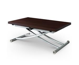 tavolo regolabile in legno e alluminio CARRERRA Mat wenge' - max 115x100x77 cm