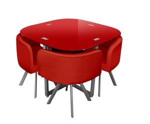 Tavolo con 4 sedie in acciaio e vetro Mosaico - rosso