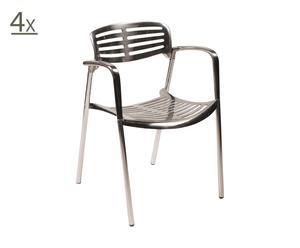set di 4 sedie in alluminio retro - 59x59x78 cm