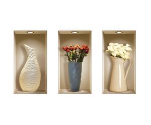 Set di 3 wallsticker 3d in vinile fleurs - 22x42 cm
